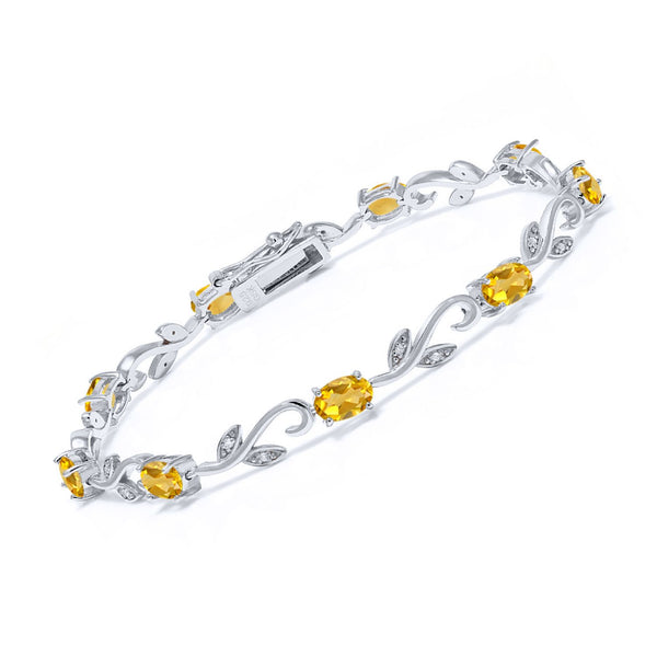 925 Sterling Silver 3.73 Ct Oval Yellow Citrine Greek Vine Diamond Bracelet
