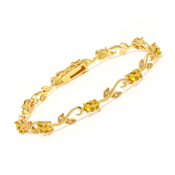 18K Yellow Gold Plated Silver 3.73 Ct Oval Citrine Diamond Greek Vine Bracelet