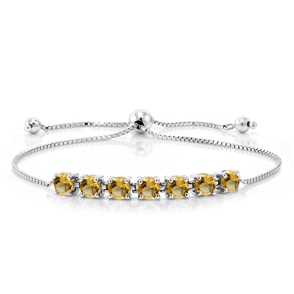 2.24 Ct Round Yellow Citrine 925 Sterling Silver Bracelet