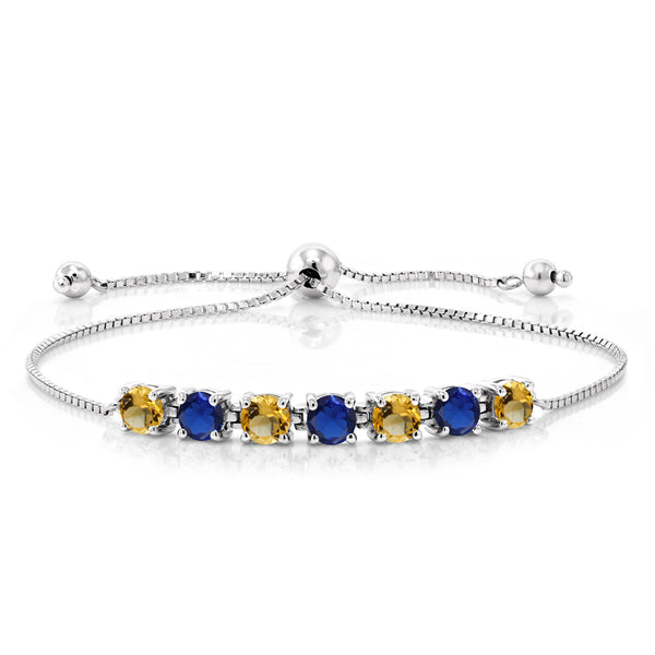2.33 Ct Round Yellow Citrine Blue Simulated Sapphire 925 Silver Bracelet