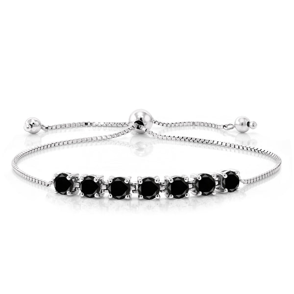 2.59 Ct Round Black Diamond 925 Sterling Silver Bracelet
