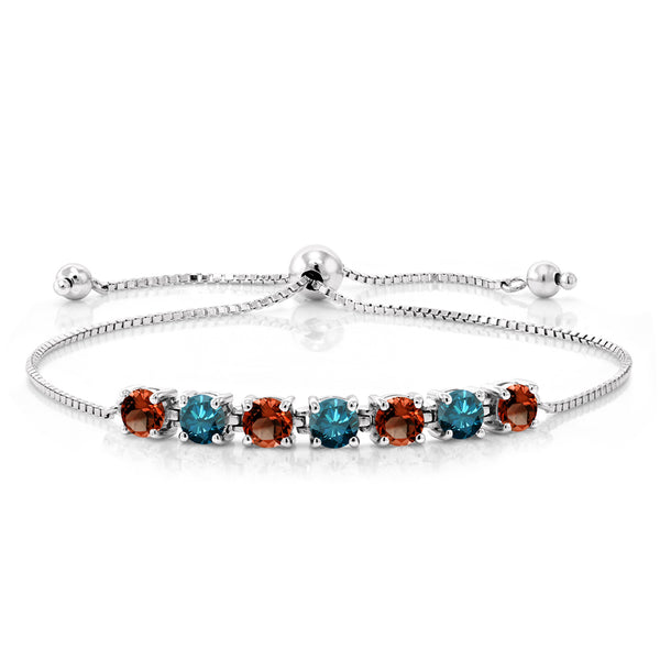 4.71 Ct Round Red Garnet Blue Diamond 925 Sterling Silver Bracelet