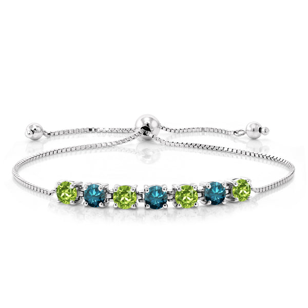 2.91 Ct Round Green Peridot Blue Diamond 925 Sterling Silver Bracelet