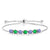 2.72 Ct Round Blue Tanzanite Green Simulated Emerald 925 Silver Bracelet
