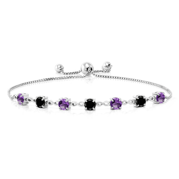 2.43 Ct Round Purple Amethyst Black Diamond 925 Sterling Silver Bracelet