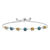 2.39 Ct Round Yellow Citrine Blue Diamond 925 Sterling Silver Bracelet