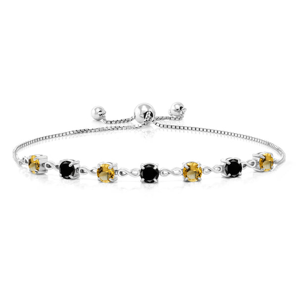 2.39 Ct Round Yellow Citrine Black Diamond 925 Sterling Silver Bracelet