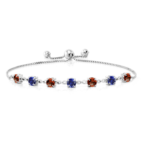 4.65 Ct Round Red Garnet Blue Simulated Sapphire 925 Sterling Silver Bracelet