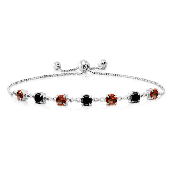 4.71 Ct Round Red Garnet Black Diamond 925 Sterling Silver Bracelet