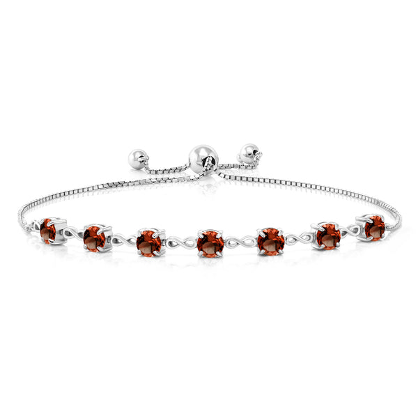 6.30 Ct Round Red Garnet 925 Sterling Silver Bracelet