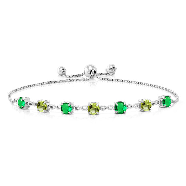 2.95 Ct Round Green Simulated Emerald Green Peridot 925 Sterling Silver Bracelet