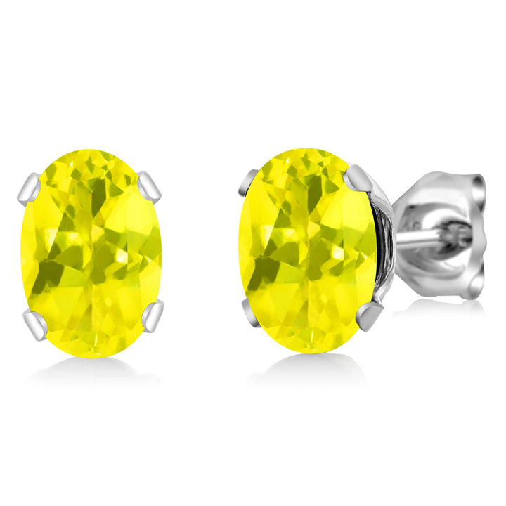 Gem Stone King 1.90 Ct Oval Shape Canary Mystic Topaz Sterling Silver Stud Earrings