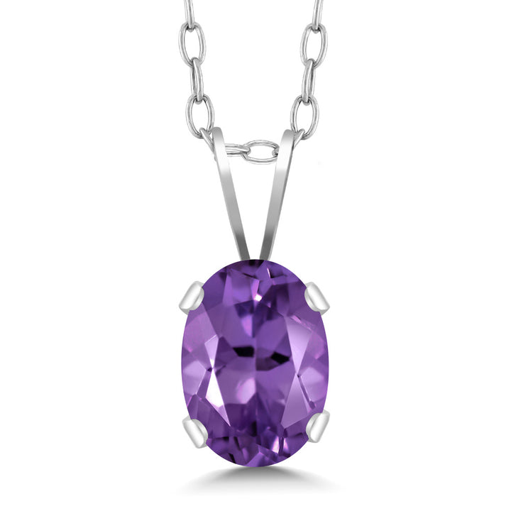 "Gem Stone King 0.75 Ct Oval Shape Purple Amethyst Sterling Silver Pendant With 18"" Chain"