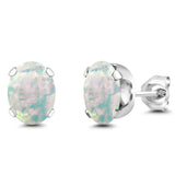 Gem Stone King 2.10 Ct Oval Cabochon 8x6mm White Simulated Opal 925 Sterling Silver Stud Women's Earrings