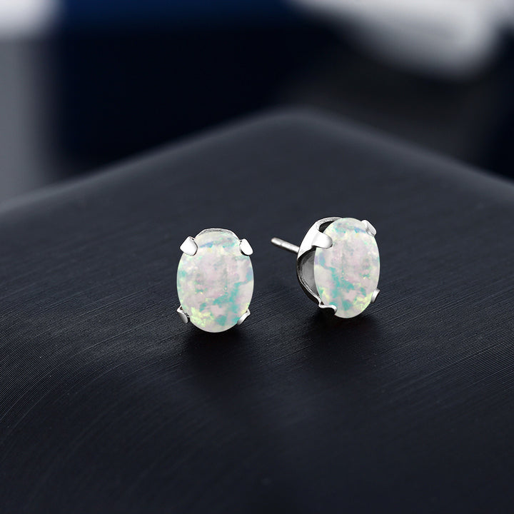 2.10 Ct Oval 8x6mm Simulated Opal 925 Sterling Silver Stud Women's Earrings
