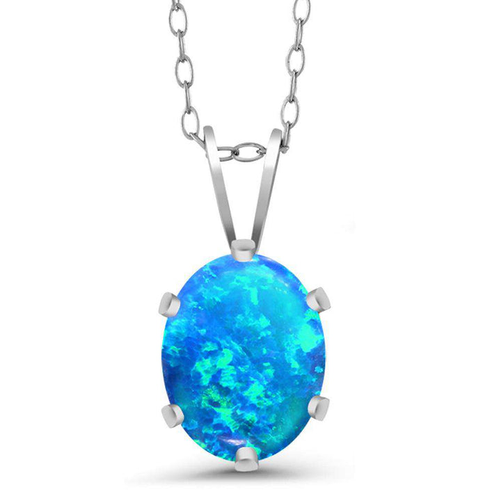 Gem Stone King 1.05 Ct Oval Cabochon Blue Simulated Opal 925 Sterling Silver Pendant With Chain