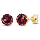 Gem Stone King 1.28 Ct Round Shape Red Rhodolite Garnet Yellow Gold Plated Silver Stud Earrings