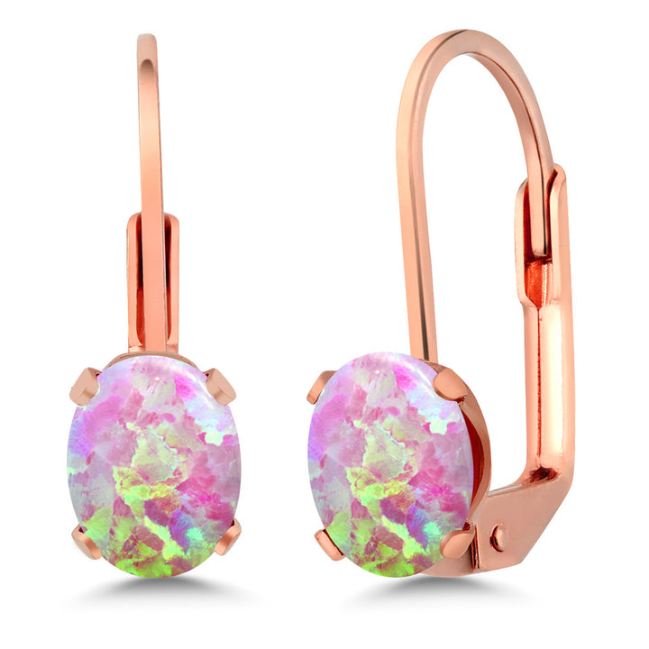 Gem Stone King 1.26 Ct Cabochon Pink Simulated Opal Brass Rose Gold Plated Brass Stud Earrings