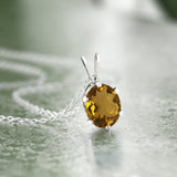 1.60 Ct Oval Shape Whiskey Quartz 925 Silver Pendant