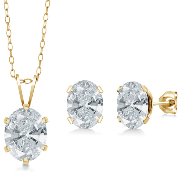 18K Yellow Gold Plated Silver Pendant Earrings Set Made With Swarovski Zirconia