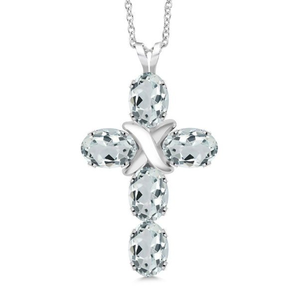 2.15 Ct Oval Sky Blue Aquamarine 925 Sterling Silver Cross Pendant With Chain