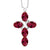 3.40 Ct Oval Red Created Ruby 925 Sterling Silver Cross Pendant With Chain