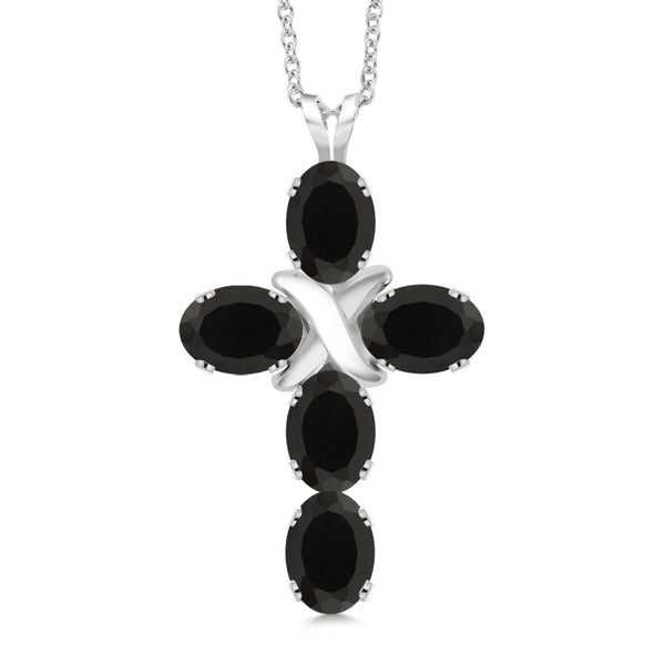 1.95 Ct Oval Black Onyx 925 Sterling Silver Cross Pendant With Chain