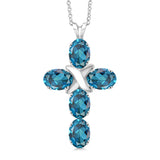 Gem Stone King 2.75 Ct Oval London Blue Topaz 925 Sterling Silver Cross Pendant With Chain