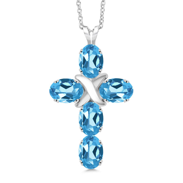 2.75 Ct Oval Swiss Blue Topaz 925 Sterling Silver Cross Pendant With Chain