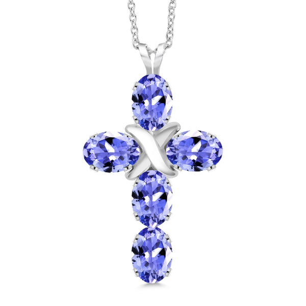 2.25 Ct Oval Blue Tanzanite 925 Sterling Silver Cross Pendant With Chain