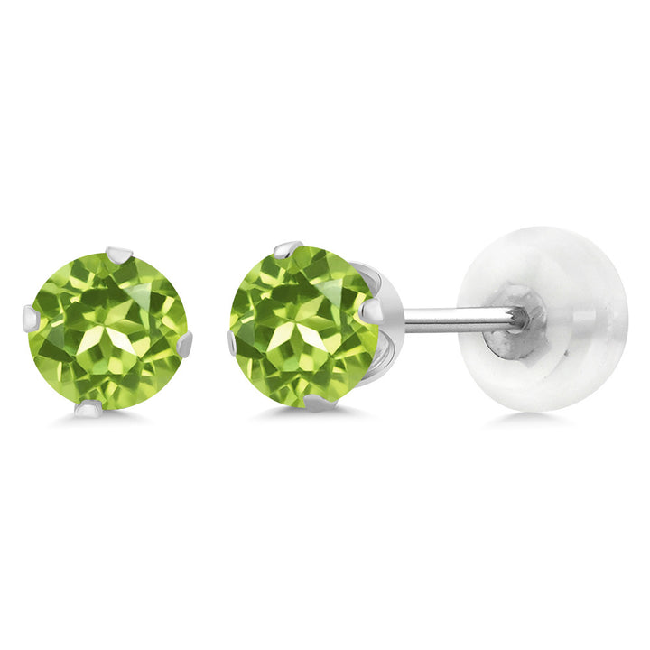 Gem Stone King 0.60 Ct Round Green Peridot 10K White Gold 4-prong Stud Earrings 4mm