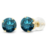 Gem Stone King 0.54 Ct Round Blue Diamond 10K Yellow Gold 4-prong Stud Earrings 4mm