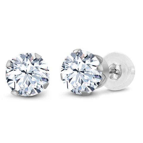 7d84db1ad Gem Stone King 10K White Gold White Created Sapphire Stud Earrings 2.40 Ct  6MM