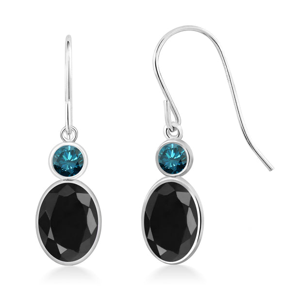 Gem Stone King 2.38 Ct Oval Black Sapphire Blue Diamond 14K White Gold Earrings