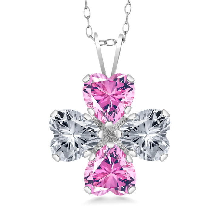 2.96 Ct 925 Silver Pendant Made With Heart Shape Pink Swarovski Zirconia