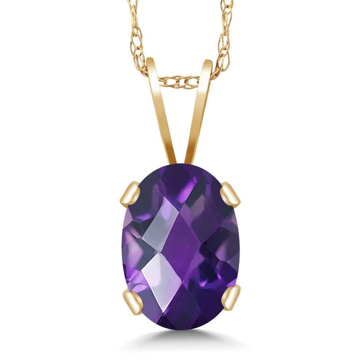 Gem Stone King 0.75 Ct Oval Checkerboard Purple Amethyst 14K Yellow Gold Pendant