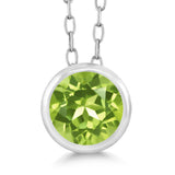 Gem Stone King 0.50 Ct Round Green Peridot 925 Sterling Silver Pendant With Chain