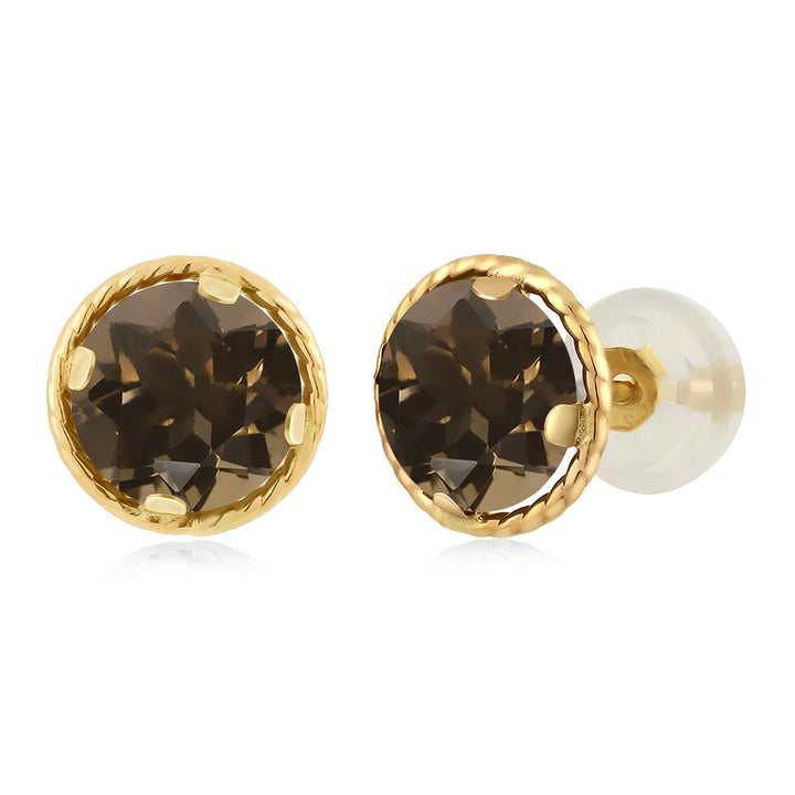 Gem Stone King 1.60 Ct Round 6mm Brown Smoky Quartz 14K Yellow Gold Stud Earrings
