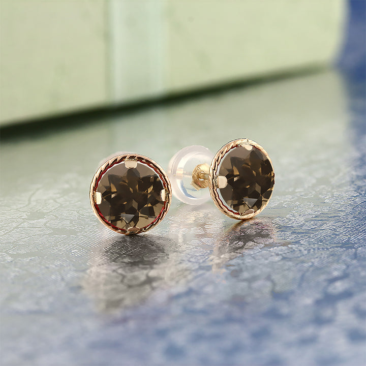1.60 Ct Round 6mm Brown Smoky Quartz 14K Yellow Gold Stud Earrings