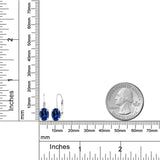 3.28 Ct Oval Blue Simulated Sapphire 925 Sterling Silver Leverback Earrings