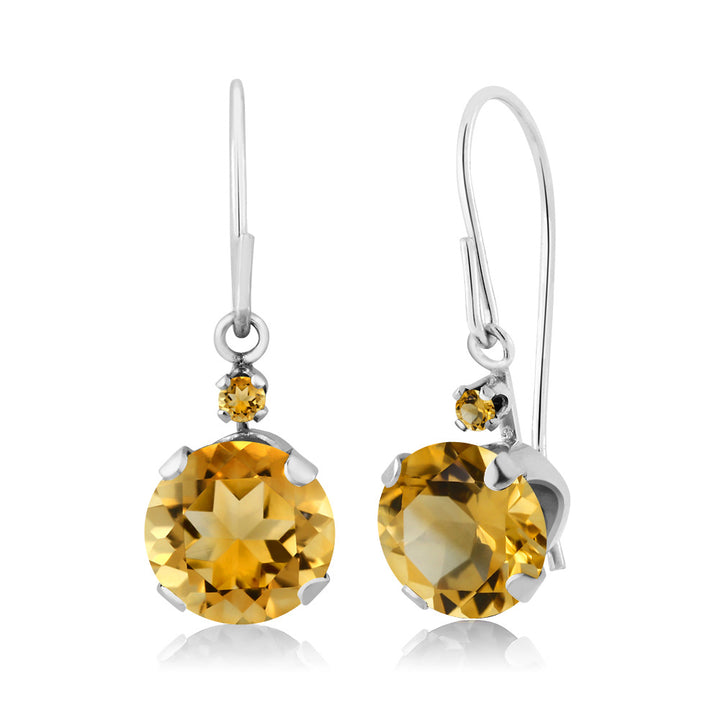 Gem Stone King 1.44 Ct Round Yellow Citrine and Simulated Citrine 14K White Gold Earrings