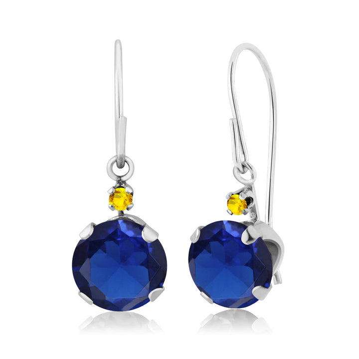 Gem Stone King 2.06 Ct Round Blue Simulated Sapphire Yellow Sapphire 14K White Gold Earrings