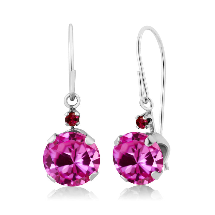 Gem Stone King 2.03 Ct Round Pink Created Sapphire Red Created Ruby 14K White Gold Earrings