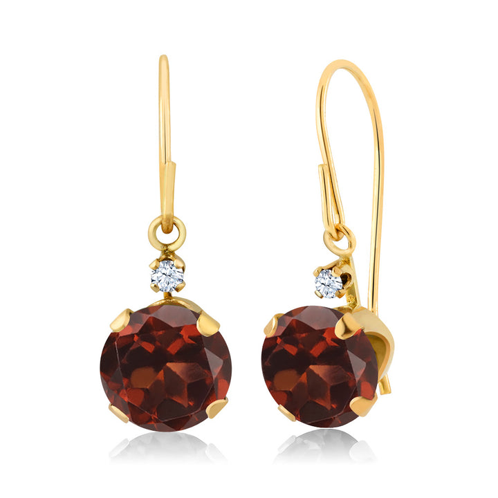 2.03 Ct Round Red Garnet 14K Yellow Gold Earrings