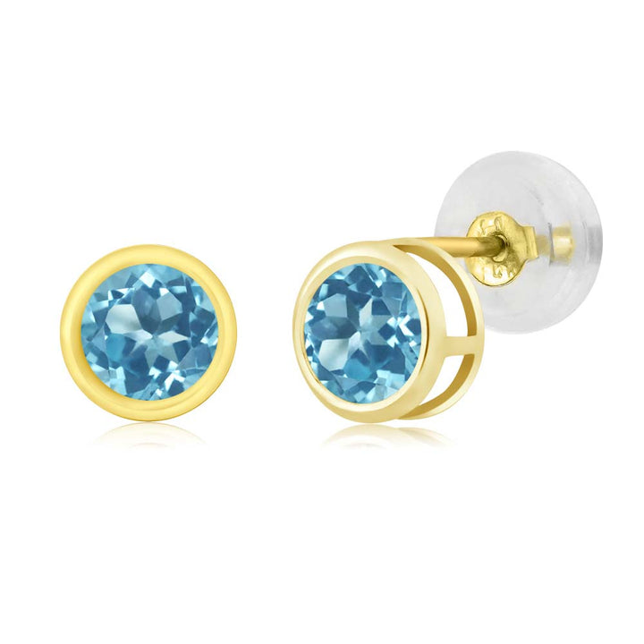 Gem Stone King 0.66 Ct Round 4mm Swiss Blue Topaz 14K Yellow Gold Stud Earrings