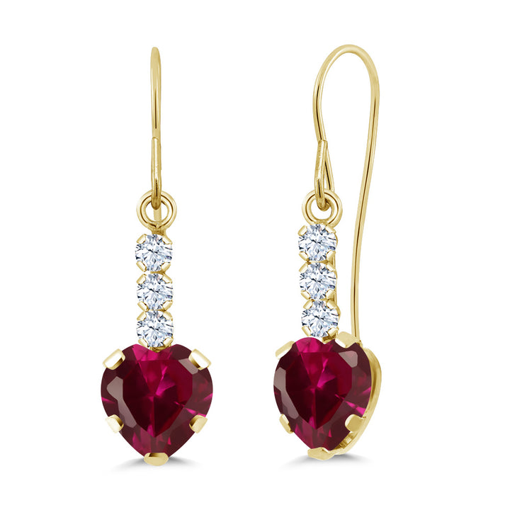Gem Stone King 2.16 Ct Red Created Ruby White Created Sapphire 14K Yellow Gold Earrings