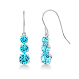 Gem Stone King 1.96 Ct Round Swiss Blue Topaz 925 Sterling Silver Earrings