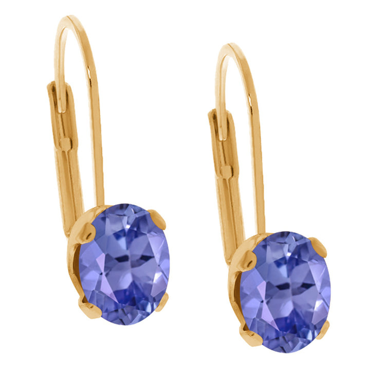 Gem Stone King 0.90 Ct Oval Blue Tanzanite 14K Yellow Gold Earrings