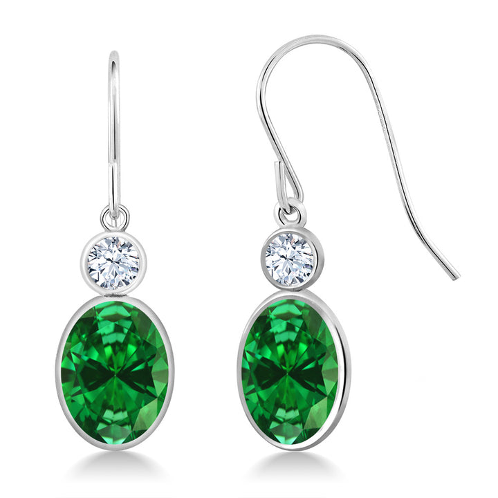 Gem Stone King 4.42 Ct Oval Green Simulated Emerald 14K White Gold Earrings