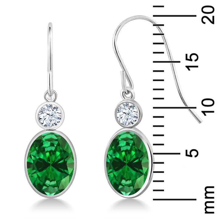 4.42 Ct Oval Green Simulated Emerald 14K White Gold Earrings